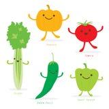 Verde sveglio Chili Sweet Pepper Celery Vector del pomodoro della zucca dell'insieme del fumetto di verdure Immagini Stock