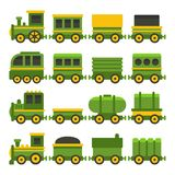 Verde Toy Railroad Train Set di stile del fumetto Vettore illustrazione di stock