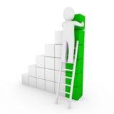 verde umano della scaletta del cubo 3d Fotografia Stock Libera da Diritti
