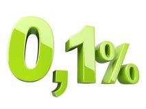 Verde 0 un segno lucido 3d di 1 per cento fotografie stock