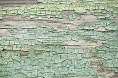 Verde velho parede de madeira resistida com pintura Foto de Stock