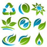 Verde y azul que reciclan los iconos de Eco Imagenes de archivo