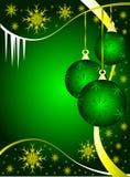 Verde y bolas de la Navidad del oro Imágenes de archivo libres de regalías