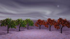 Verde y naranja de los árboles ilustración del vector