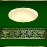 Verde y tarjeta de la invitación del oro con adorno del ornamento stock de ilustración