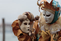 Verdeckte Person am Venedig-Karneval Stockfotografie
