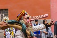 Verdecktes Tänzer Virgen-del Carmen Pisac Cuzco Peru Lizenzfreie Stockfotografie