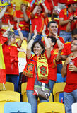 Verdedigers van het de voetbalteam van Spanje de nationale Stock Foto
