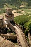 Verdedigingsmuren van Vigoleno-kasteel Royalty-vrije Stock Foto