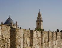 Verdedigingsmuur van oud heilig Jeruzalem. Royalty-vrije Stock Foto's