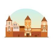Verdedigingsvestingwerk, monument, historische, culturele waarde van Republiek Wit-Rusland stock illustratie