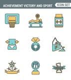 Verdedigt de vastgestelde de premiekwaliteit van de pictogrammenlijn van de sportpictogram van de achiementoverwinning eerste pla Stock Afbeeldingen