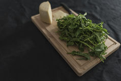 Verdes de nabo y queso del ricotta Imagen de archivo libre de regalías
