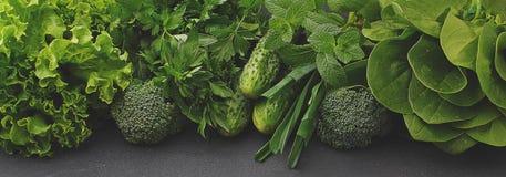 Verdes: espinafres, pepino, brócolis, alho, hortelã, salsa, alface, cebola em um fundo preto Imagens de Stock Royalty Free