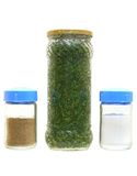 Verdes estanhados, pimenta e sal Foto de Stock