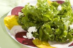 Verdes orgânicos e salada das beterrabas Foto de Stock