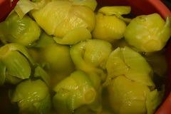 Verdi di senape marinati Fotografia Stock