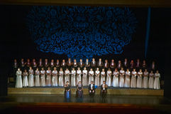 Verdi's REQUIEM. DNIPROPETROVSK, UKRAINE - NOVEMBER 22: Members of the Choir of the State Opera and Ballet Theatre perform Verdi's REQUIEM on November 22, 2014 Royalty Free Stock Photography