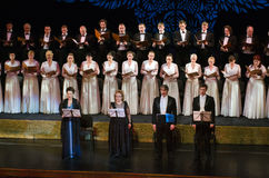 Verdi's REQUIEM. DNIPROPETROVSK, UKRAINE - NOVEMBER 22: Members of the Choir of the State Opera and Ballet Theatre perform Verdi's REQUIEM on November 22, 2014 Royalty Free Stock Images
