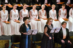 Verdi's REQUIEM. DNIPROPETROVSK, UKRAINE - NOVEMBER 22: Members of the Choir of the State Opera and Ballet Theatre perform Verdi's REQUIEM on November 22, 2014 Stock Images