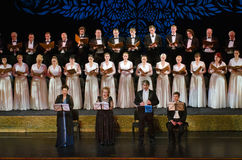 Verdi's REQUIEM. DNIPROPETROVSK, UKRAINE - NOVEMBER 22: Members of the Choir of the State Opera and Ballet Theatre perform Verdi's REQUIEM on November 22, 2014 Stock Photography