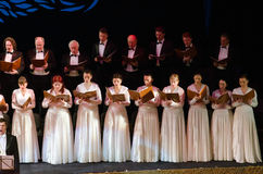 Verdi's REQUIEM. DNIPROPETROVSK, UKRAINE - NOVEMBER 22: Members of the Choir of the State Opera and Ballet Theatre perform Verdi's REQUIEM on November 22, 2014 Stock Image