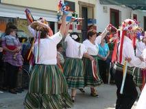 Verdiales dansare på den lokala fiestaen Arkivbilder