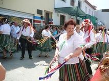 Verdiales dansare på den lokala fiestaen Arkivfoton