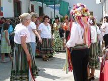 Verdiales dansare på den lokala fiestaen Fotografering för Bildbyråer