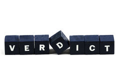 Verdict. The word verdict spelled out Royalty Free Stock Image