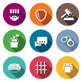 The verdict of the court and detention Icons Set Royalty Free Stock Photography