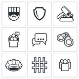 The verdict of the court and detention icons set. Vector Illustration Royalty Free Stock Photography