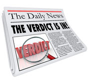 Verdict Is In Newspaper Headline Answer Judgment Announced. The Verdict is In headline on a newspaper to announce or report the answer, judgment or finding of a Stock Photography