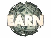 Verdien Geldinkomen Job Cash Ball Sphere stock illustratie