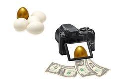 Verdienen des Geldes durch Kameraschießen Lizenzfreies Stockbild