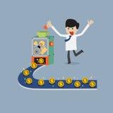Verdienen des Geldes durch Mischung der Idee, der Zeit, der guten Qualität und des Herzens Stockfoto
