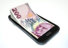 Verdienen des Geldes mit elektronischem Geschäftsverkehr unter Verwendung des Smartphone vektor abbildung