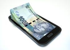 Verdienen des Geldes mit elektronischem Geschäftsverkehr unter Verwendung des Smartphone lizenzfreie abbildung