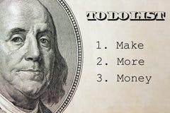Verdienen Sie mehr Geld herein, um Liste, Geschäftskonzept zu tun auf Dollarhintergrund lizenzfreies stockbild