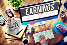 Verdienend van het het Inkomensgeld van Economiefinanciën het Salarisconcept stock afbeelding