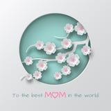 Verdissez la branche décorée par cercle cuted des fleurs de cerise sur le fond blanc pour la carte de voeux de jour du ` s de mèr illustration libre de droits