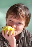 Verdissez la pomme et le garçon. Photos stock