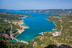 Verdon canyon with St. Croix Lake in Provence, France Stock Photo