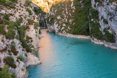 Verdon Gorge, amazing landscape of famous canyon with winding turquoise-green color river and high rocks in Alps, Provence, France. Verdon Gorge Gorges du Verdon royalty free stock photos