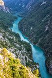 Verdon Gorge, amazing landscape of famous canyon with winding turquoise-green color river and high rocks in Alps, Provence, France. Verdon Gorge Gorges du Verdon royalty free stock image