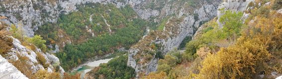 Verdon Gorge canyon in France. French riviera Cote d`azur landscape from mountain near pics de l`ours Royalty Free Stock Image