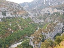 Verdon Gorge canyon in France. Near French Riviera, Cote d`azur Stock Image