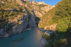 Verdon Gorge, amazing landscape of famous canyon with winding turquoise-green color river and high rocks in Alps, Provence, France. Verdon Gorge Gorges du Verdon stock photo