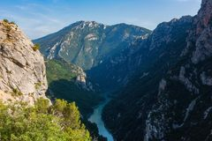 Verdon Gorge, amazing landscape of famous canyon with winding turquoise-green color river and high rocks in Alps, Provence, France. Verdon Gorge Gorges du Verdon royalty free stock photo