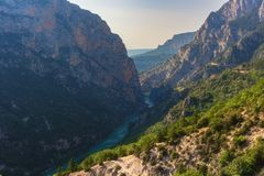 Verdon Gorge, amazing landscape of famous canyon with winding turquoise-green color river and high rocks in Alps, Provence, France. Verdon Gorge Gorges du Verdon stock photography